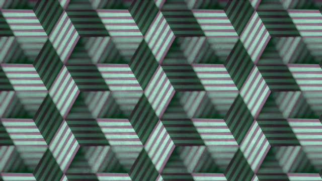 Colored pattern of moving striped boxes on old dirty surface. Ornate motion graphic design with a depth of field. 3d rendering seamless loop animation. 4K, Ultra HD resolution