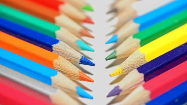 colored pencils shot on macro lens video