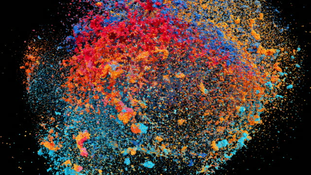 Colored powder explosion on black background with alpha mask. Orbiting camera. video