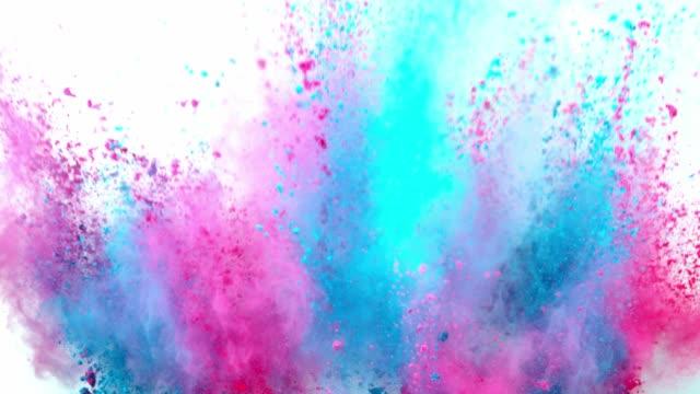 färgad pulver explosion på vit bakgrund. - färg bildbanksvideor och videomaterial från bakom kulisserna