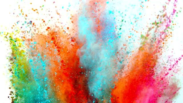 färgad pulver explosion på vit bakgrund. - färgbild bildbanksvideor och videomaterial från bakom kulisserna