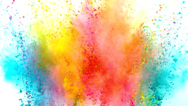 colored powder explosion on white background. - świętowanie filmów i materiałów b-roll