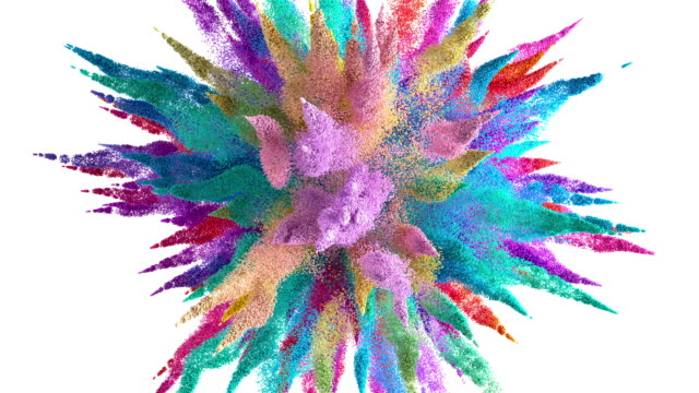 Colored powder or particles explosion animation on white background with alpha channel or Luma matte