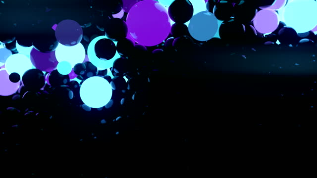 Colored reflective glowing balls on black background. Digital animation 3d rendering. 4K, Ultra HD resolution
