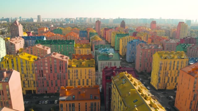 Colored residential buildings. Aerial view video