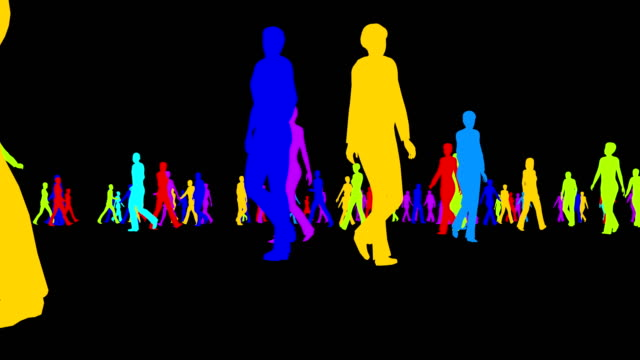 Colored silhouettes of a crowd of people on a black background