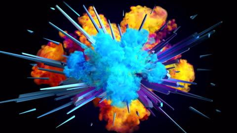 esplosione di fumo colorato in 4k - animazione video stock e b–roll