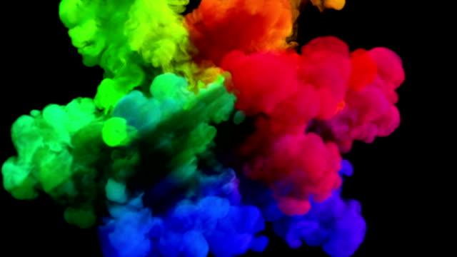 Colored smoke explosion on black 'Spectrum', variation 2 video