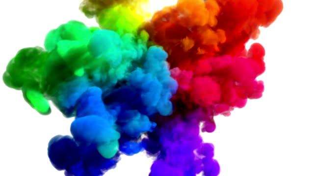 Colored smoke explosion on white 'Spectrum', variation 1 video