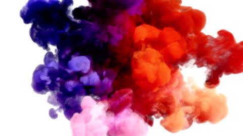 vídeos de stock e filmes b-roll de colored smoke explosion on white - imagem a cores