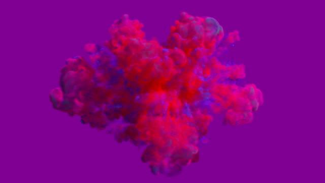 vídeos de stock, filmes e b-roll de explosão colorida do fumo - pintura em aquarela