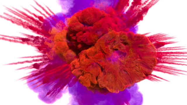 colored smoke explosion with puff towards the camera, smoke hits camera's lense. - neve farinosa video stock e b–roll