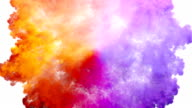 istock Colored smoke radial explosion on white 545003276