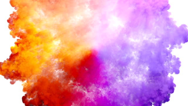 Colored smoke radial explosion on white video