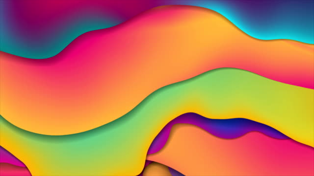 vídeos de stock e filmes b-roll de colorful abstract fluid waves video animation - design