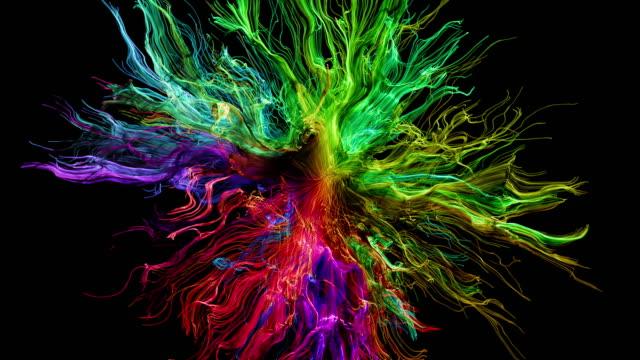 crescita di particelle astratte colorate - multicolore video stock e b–roll