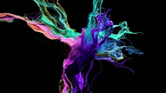 vídeos de stock, filmes e b-roll de crescimento de partículas abstratas coloridas - cor vibrante