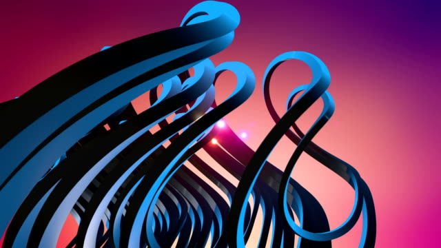 3D Colorful Abstract Shapes With Light Trails In The Center video