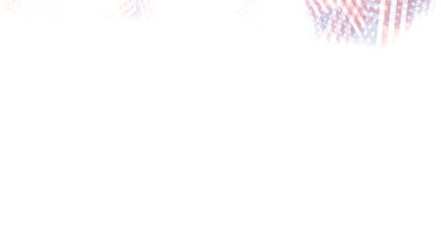 vidéos et rushes de coloré et noir et blanc luma mat transitions-usa drapeau apparence et la disparition sur fond blanc, ensemble avec des directions différentes: côté, vers le haut, du centre, en diagonale. - patriotisme