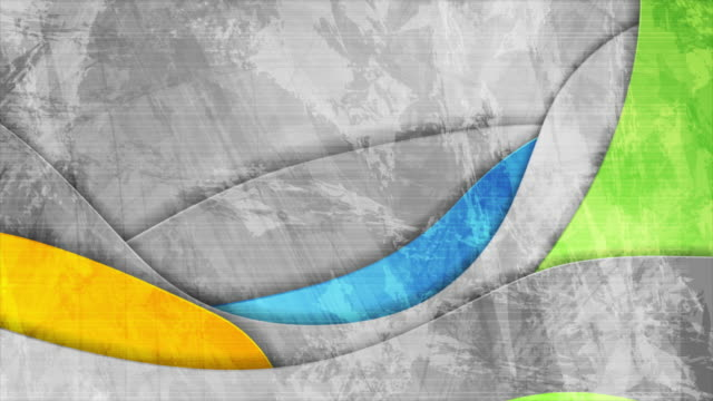 Colorful and grey grunge waves abstract video animation