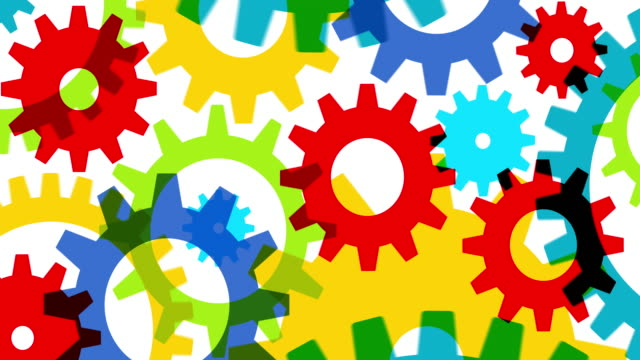 Colorful animated gears on white background
