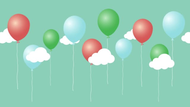 Colorful animation of cartoon air balloons with clouds. Happy birthday video card. Seamless loop cute animated background. birthday background stock videos & royalty-free footage