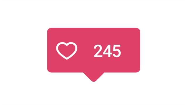 Colorful animation of Like button with increasing counting of numbers on white background. Animation. Abstract animation of social media reaction buttons video
