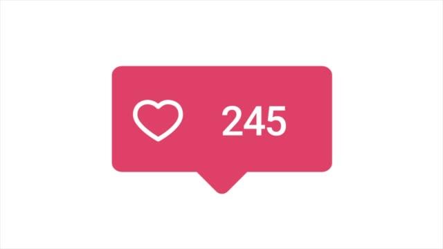 白い背景に数字のカウントを増やして、好きなボタンのカラフルなアニメーション。アニメーション。ソーシャルメディアの反応ボタンの抽象アニメーション ビデオ