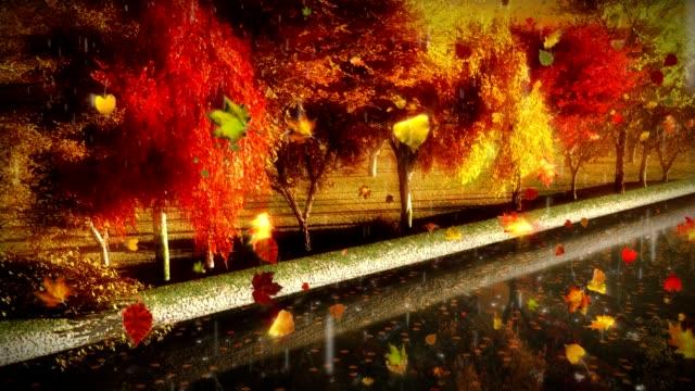 Colorful Autumn Trees Park Scene Rain Canal River LOOP