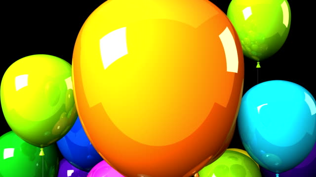 vídeos y material grabado en eventos de stock de coloridos globos en el fondo negro - gran inauguración