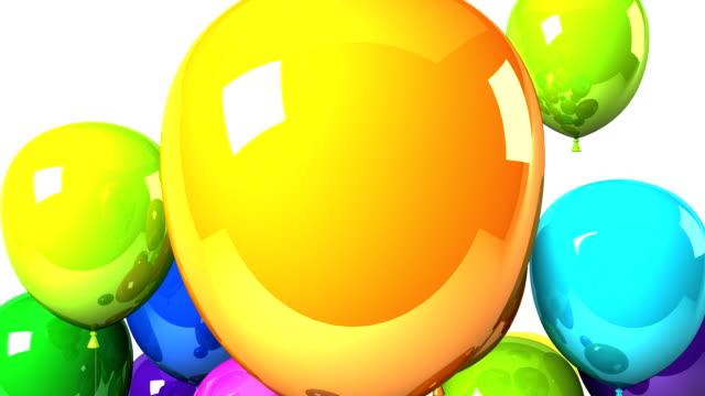 vídeos y material grabado en eventos de stock de coloridos globos en el fondo blanco - gran inauguración