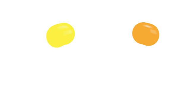 Colorful balls bouncing on ground animation with alpha channel.Cartoon bounce balls color with isolated white background