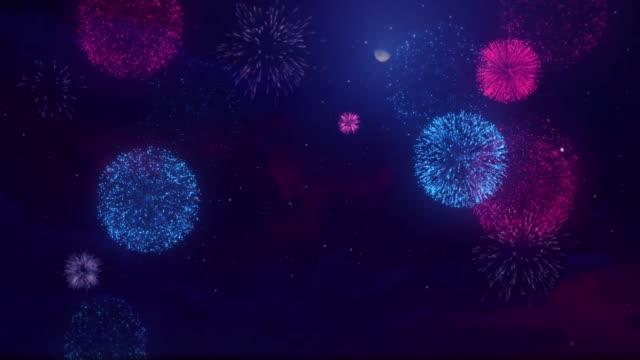Colorful Beautiful Explosion Bursting Sparkle sky loop firework.