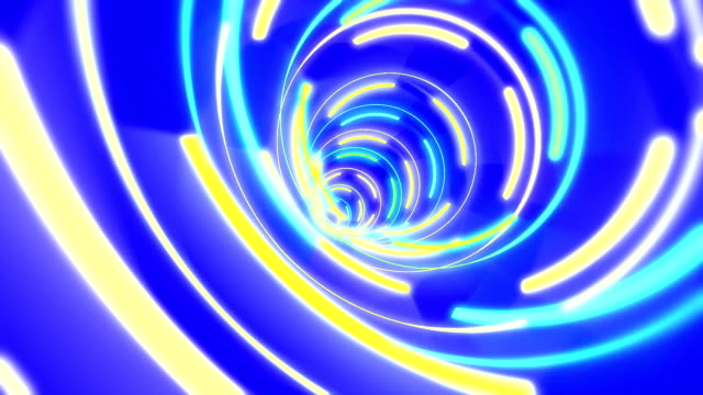 vidéos et rushes de coloré bleu et de jaune vortex tunnel papier peint - entonnoir