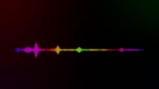カラフルな明るい抽象的な可聴周波スペクトル線背景 - 音波点の映像素材/bロール