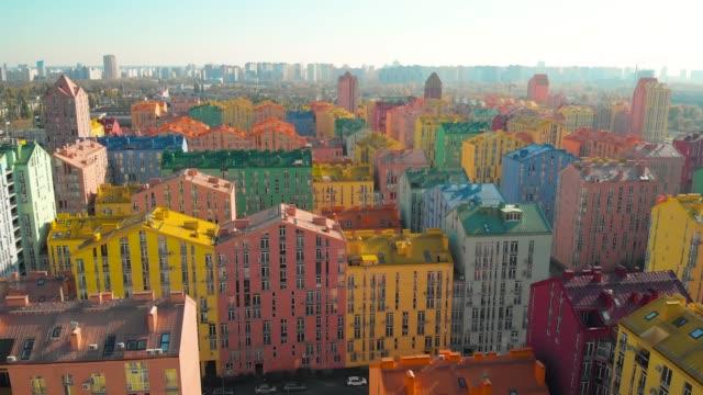 kiev renkli binalar, ukrayna. havadan görünüm - çok renkli stok videoları ve detay görüntü çekimi