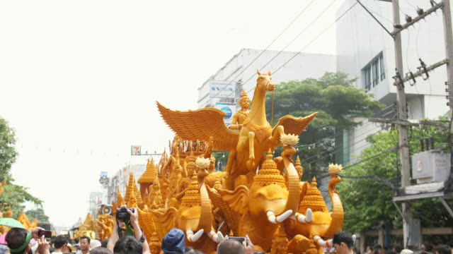 Colorful Candle Parade in Buddha Day, Thailand Traditional Festival