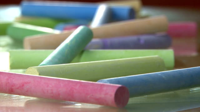 Colorful chalk on table video