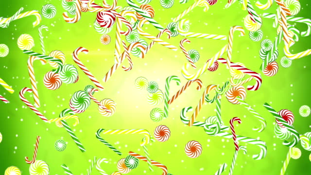 colorful christmas candy canes falling loopable background video