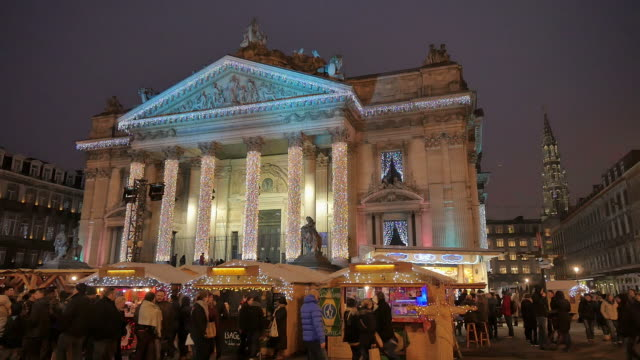 Colorful Christmas Illuminations on the Streets of Brussels video