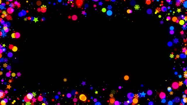 färgglad jul snöflingor ram på svart bakgrund loopas - christmas frame bildbanksvideor och videomaterial från bakom kulisserna