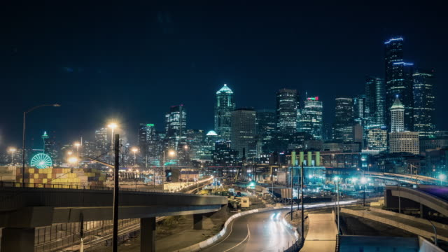 Colorful City Lights Background Time-Lapse Downtown Seattle, Washington video
