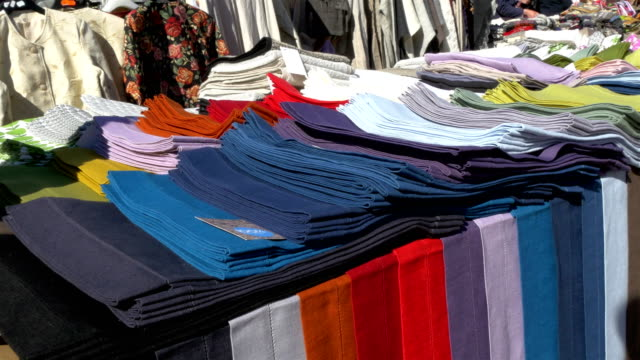Colorful clothes being displayed on the street of Estonia GH4 4K UHD