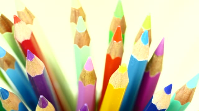 Colorful color pencil. Front view. video