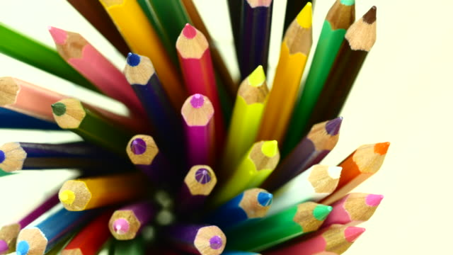 Colorful color pencil. Top view. From left to right. video