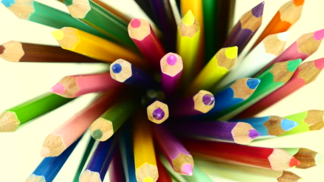 Colorful color pencil. Top view. video