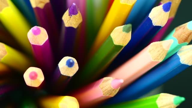 colorful color pencil. top view. - truciolo video stock e b–roll