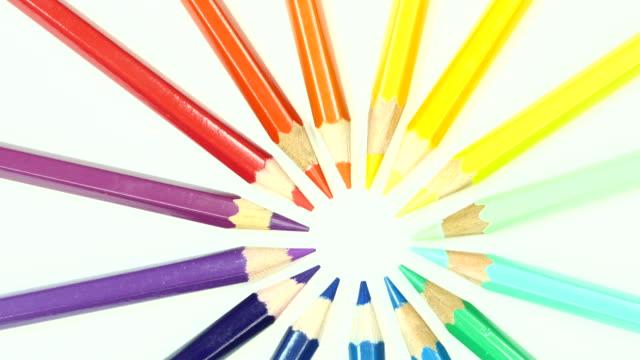 colorful color pencil. top view. - matita colorata video stock e b–roll
