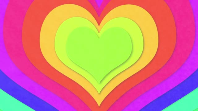 Colorful concentric hearts video