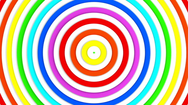 Colorful concentric lines growing 3D animation seamless loop video